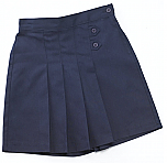 K-12 #2650 Pleated Tab Skort - Navy Blue