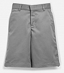 Boys Relaxed Fit Twill Shorts - Flat Front, Long Length - Grey