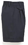 Girls Twill Shorts - Pleated Front, Elastic Back - #4026 - Navy Blue