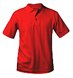 Unisex Interlock Knit Polo Shirt - Short Sleeve - Red