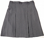 #1039/1954 Box Pleat Skirt - Polyester/Wool - Grey