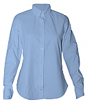 Women's Fitted Oxford Dress Shirt - Long Sleeve - Light Blue