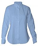 Women's Fitted Oxford Dress Shirt - Long Sleeve - Light Blue