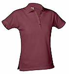 Girls Fitted Mesh Knit Polo Shirt - Short Sleeve - Burgundy