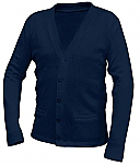 Unisex V-Neck Cardigan Sweater with Pockets - Navy Blue