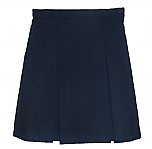 #349 Box Pleat Skirt - Polyester/Wool - Navy Blue