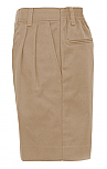 Boys Twill Shorts - Pleated Front, Elastic Back - #1286 - Khaki