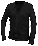 DeLaSalle High School - Unisex V-Neck Cardigan Sweater with Pockets - Black with Logo