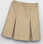K-12 #2660 Box Pleat Skirt - Khaki