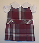 18 Inch Doll Jumper - Drop Waist with Peter Pan Blouse - Plaid #54