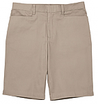 Girls Mid-Rise Bermuda Shorts - Stretch - Flat Front - #2444 - Khaki