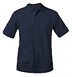 Unisex Interlock Knit Polo Shirt - Short Sleeve - Navy Blue