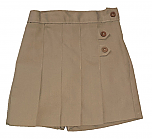 K-12 #2650 Pleated Tab Skort - Khaki