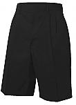 Boys Twill Shorts - Pleated Front - Adjustable Waist - Black