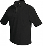 Unisex Mesh Knit Polo Shirt - Short Sleeve - Black
