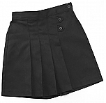 K-12 #2650 Pleated Tab Skort - Black