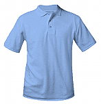 Unisex Interlock Knit Polo Shirt - Short Sleeve - Light Blue