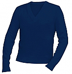 Unisex V-Neck Pullover Sweater - Navy Blue