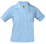 Girls Classic Collar Blouse - Short Sleeve - Light Blue