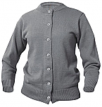 Girls Crewneck Cardigan Sweater - Grey