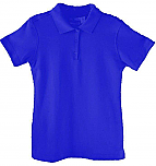 Girls Fitted Interlock Knit Polo Shirt - Short Sleeve - Royal Blue