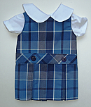 18 Inch Doll Jumper - Drop Waist with Peter Pan Blouse - Plaid #59