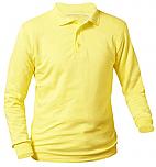 Unisex Interlock Knit Polo Shirt - Long Sleeve - Yellow