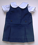 American Girl Doll Jumper - Drop Waist with Peter Pan Blouse - Navy Blue