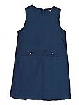 Drop Waist Jumper - Box Pleats - Poly/Cotton - Navy Blue