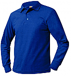 Unisex Mesh Knit Polo Shirt - Long Sleeve - Royal Blue