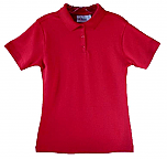 Girls Fitted Interlock Knit Polo Shirt - Short Sleeve - Red