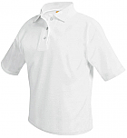 Unisex Mesh Knit Polo Shirt - Short Sleeve - White