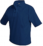 Unisex Mesh Knit Polo Shirt - Short Sleeve - Navy Blue