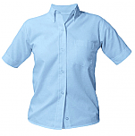 Girls Oxford Dress Shirt - Short Sleeve - Light Blue