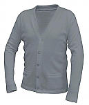 Unisex V-Neck Cardigan Sweater with Pockets - Grey