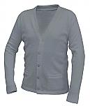 Unisex V-Neck Cardigan Sweater with Pockets - Grey