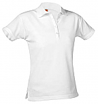 Girls Fitted Mesh Knit Polo Shirt - Short Sleeve - White