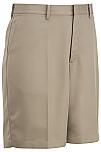 Boys Flat Front Microfiber Shorts - #1328/7912 - Khaki