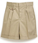 Girls Twill Shorts - Pleated Front, Elastic Back - #4026 - Khaki