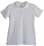 Girls Fitted Interlock Knit Polo Shirt - Short Sleeve - White