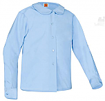 Girls Peter Pan Collar Blouse - Long Sleeve - Light Blue
