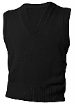 DeLaSalle High School - Unisex V-Neck Sweater Vest - Black with Logo