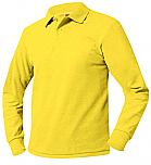 Unisex Mesh Knit Polo Shirt - Long Sleeve - Yellow