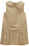 K-12 #2762 Drop Waist Pleated Jumper with Button Tabs - Khaki