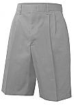 Boys Twill Shorts - Pleated Front - Adjustable Waist - Grey