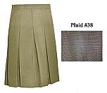 Traditional Waist Skirt - Knife Pleats - 100% Polyester - Plaid #38