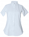 Women's Fitted Oxford Dress Shirt - Short Sleeve - White