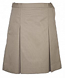 #344Khk Box Pleat Skirt - Polyester/Cotton - Khaki