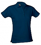 Girls Fitted Mesh Knit Polo Shirt - Short Sleeve - Navy Blue