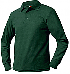 Unisex Mesh Knit Polo Shirt - Long Sleeve - Hunter Green